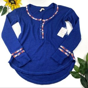 We The Free Womens Blue Contrast Trim Thermal Top